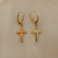 14Karat gold cross Earrings
